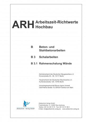 ARH-Tabelle Rahmenschalung, Teilausgabe Wandschalung (Download PDF)