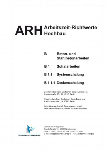 ARH-Tabelle Systemschalungen Decken (Download)