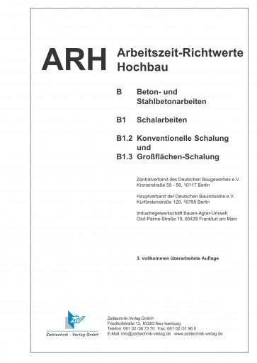 ARH-Tabelle Schalarbeiten, konventionelle u. Großflächen Schalung (Download)