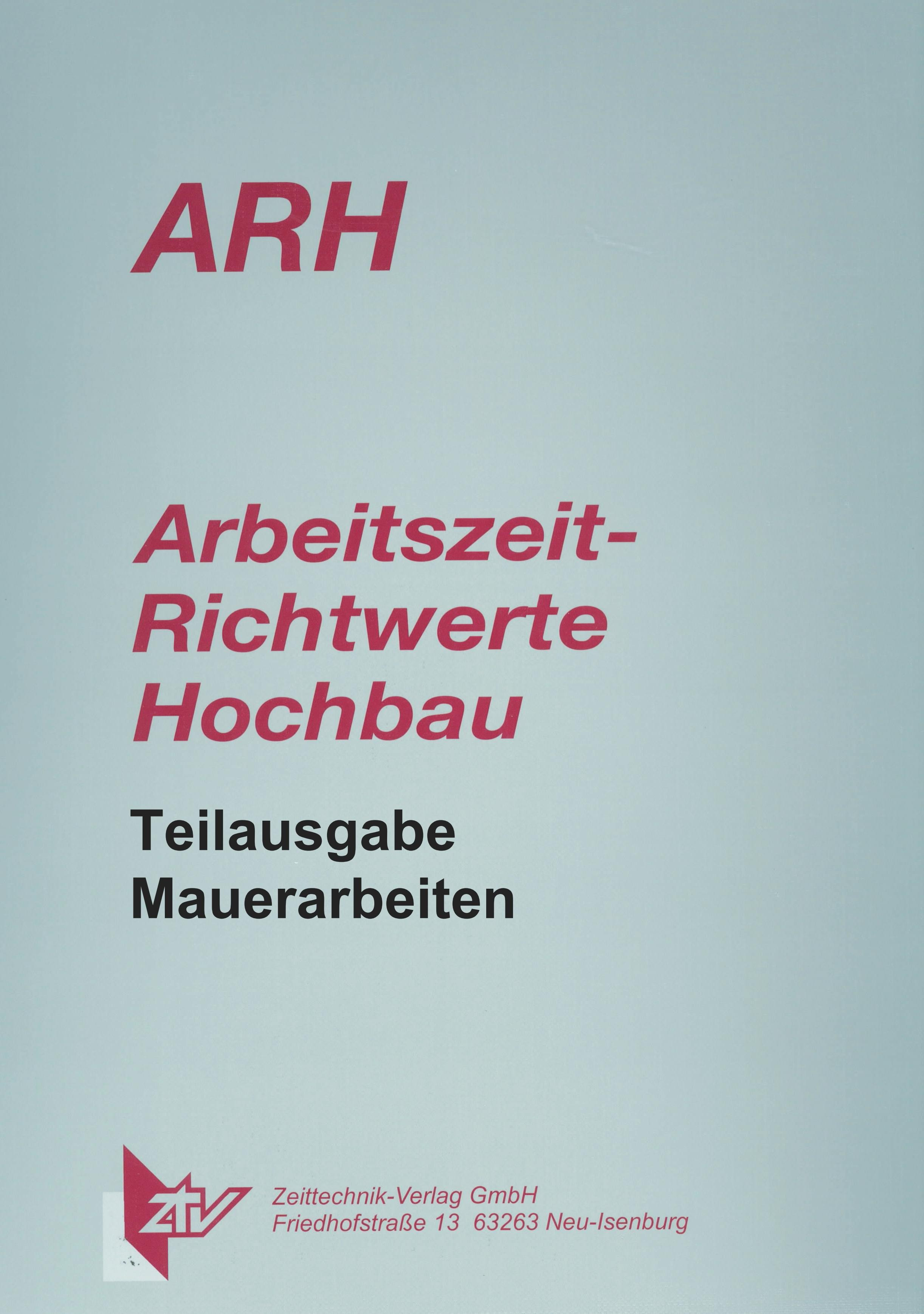 ARH Teilausgabe Mauerarbeiten und WDVS