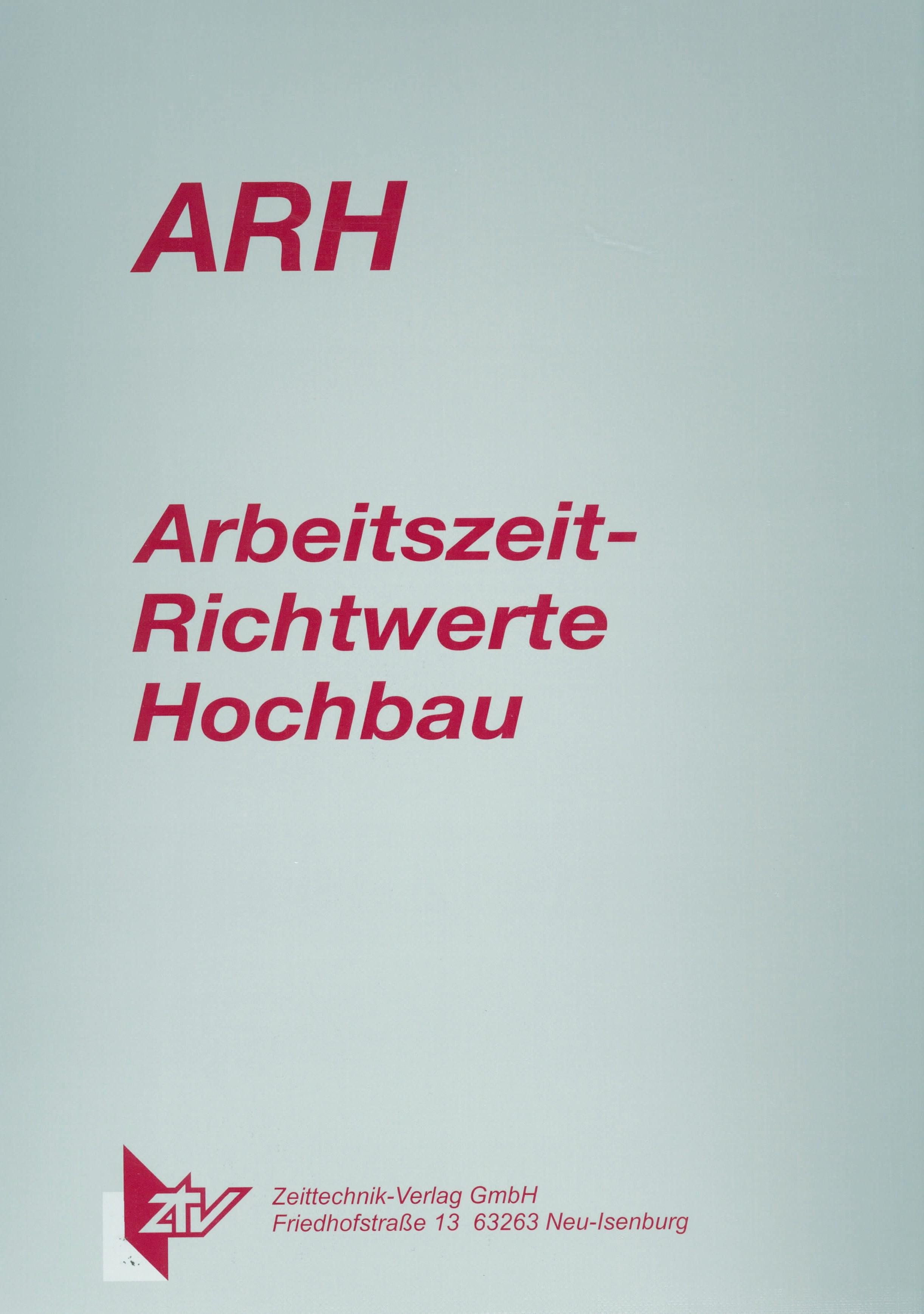 ARH-Tabelle Mauerarbeiten großformatige Steine und WDVS
