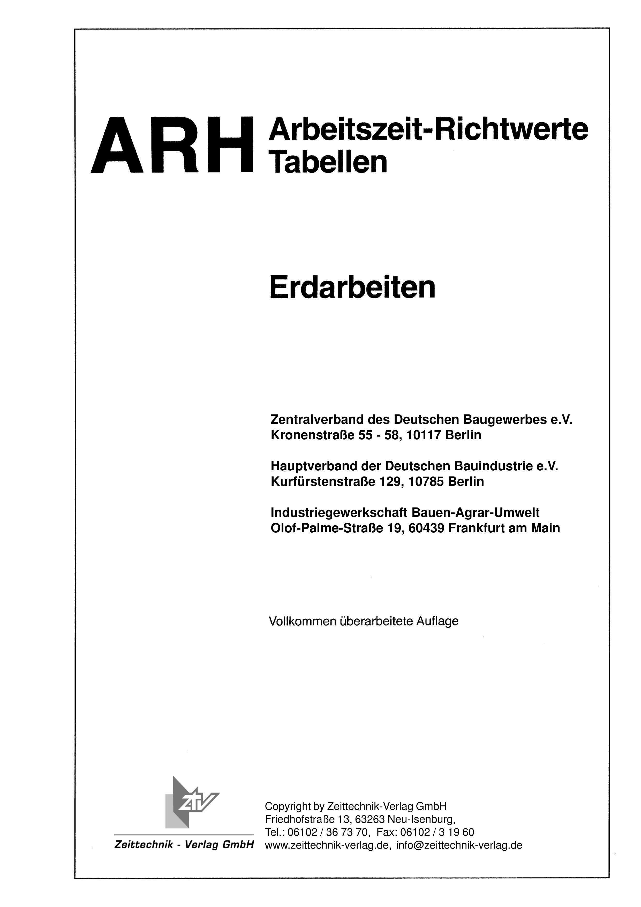 ARH-Tabelle Erdarbeiten (Download)